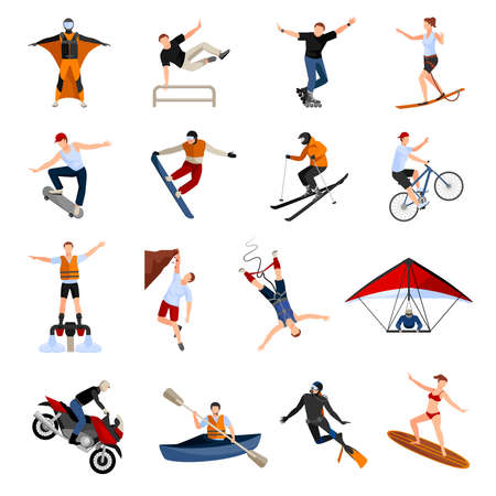 Flat design icons set with people doing various kinds of extreme sports isolated on white background vector illustration