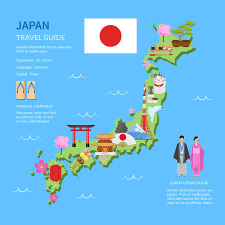 Japan for travelers map with cultural symbols and landmarks flat poster with infographic elements abstract vector illustration
