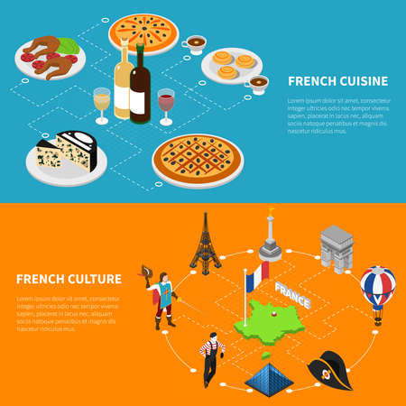 French culture top sughtseeing landmarks and national cuisine for tourists 2 isometric banners abstract isolated vector illustration