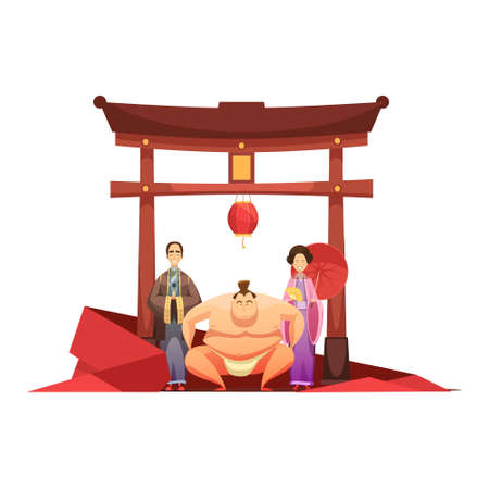 Japanese culture retro composition with pagoda sumo wrestler and in kimono dressed couple cartoon poster vector illustration Illustration