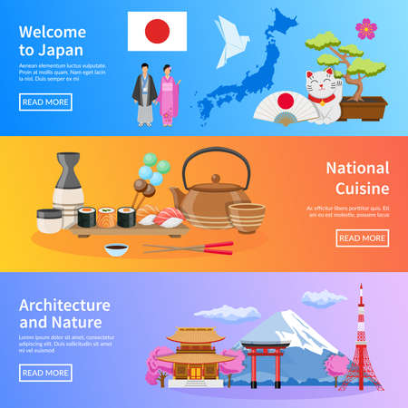Japanese national cuisine architecture traditions and nature for travelers 3 flat banners webpage design  isolated vector illustration 向量圖像