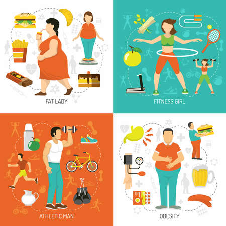 Obesity and health concept with fat people junk food diet sportive girl athletic man isolated vector illustration