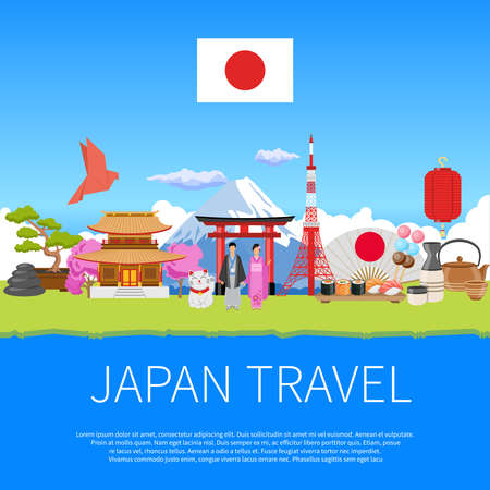Japan travel flat advertisement flyer with national cultural symbols landmarks and places of interest composition poster vector illustration
