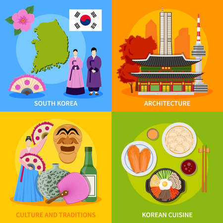 Korean culture traditions symbols cuisine map and landmarks 4 flat icons square poster abstract vector isolated illustration