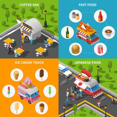 Street Food Isometric Concept. Street Food Car Icons Set. Street Food Cart Vector Illustration. Street Food Truck Symbols. Street Food Truck Design Set.  Street Food Van Elements Collection.