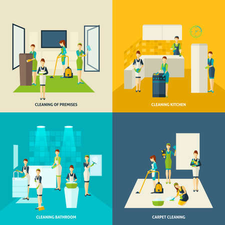 Kitchen bathroom and carpet cleaning design concept with woman figures flat icons set isolated vector illustration Иллюстрация