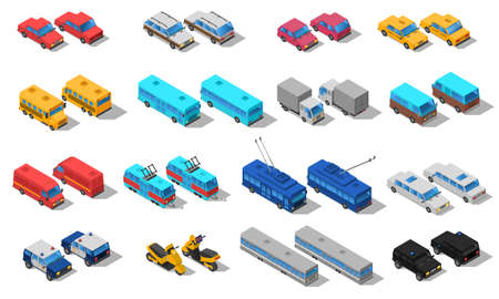 City public transport isometric icons set with school bus taxi automobile and pickup trucks abstract isolated vector illustration