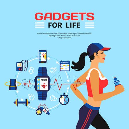 Flat vector illustration of running girl and set of gadgets used smart technology for monitoring calorie consumption during fitness activities Stock Illustratie