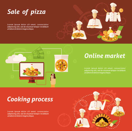 Complex of sale in online market and cooking process of pizza flat horizontal banners isolated vector illustration