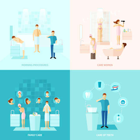 Personal and family care teeth care colored flat icons set isolated vector illustration