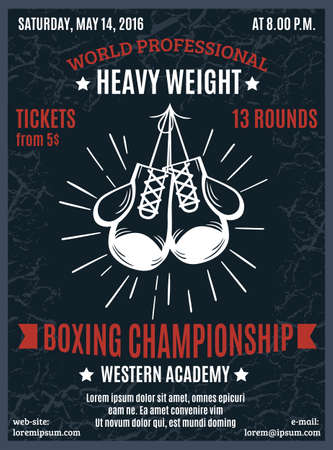 Boxing professional championship poster with heavy weight battle advertising and white boxer gloves in black background vector illustration