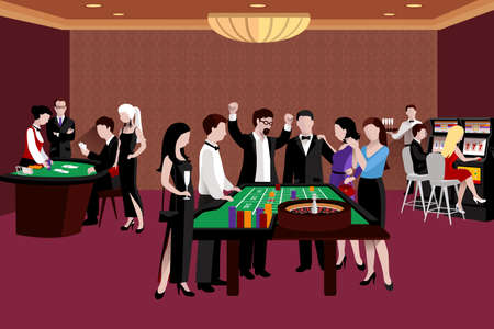 People in casino standing around the roulette table flat vector illustration