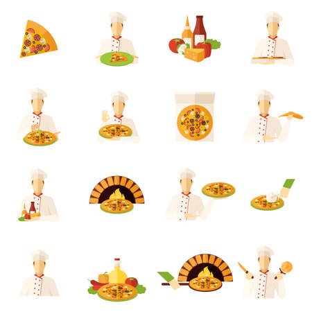 Pizza makers food and kitchen flat icons set isolated vector illustration