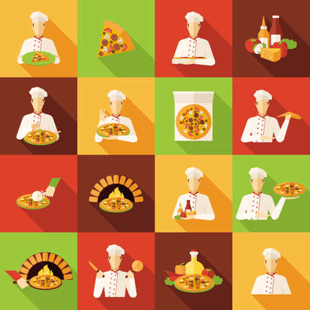 Pizza makers food and kitchen on colour background long shadows flat icons set isolated vector illustration