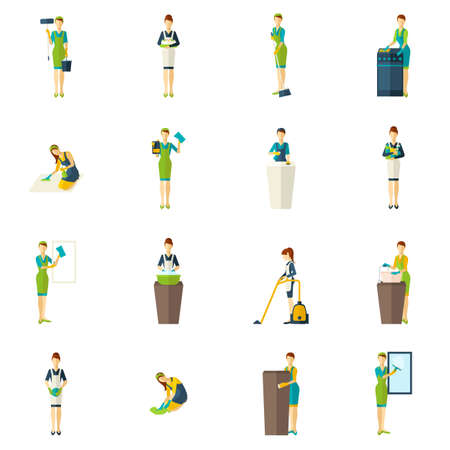 People involved the cleaning with tools and equipment color flat icons set isolated vector illustration