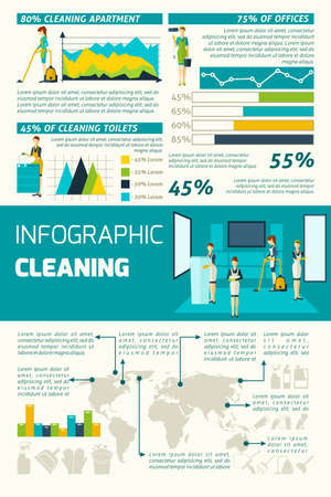 Cleaning in the offices apartments and rooms statistics flat color infographics set