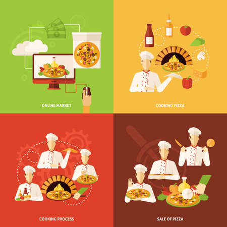 Full process of pizza order making and sale flat icons set isolated vector illustration