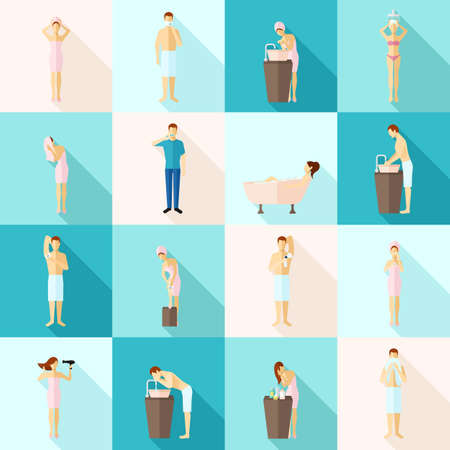 Personal hygiene and care colored flat long shadows icons set isolated vector illustration Иллюстрация