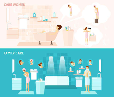 Woman and family hygiene and care flat horizontal banners set vector illustration Иллюстрация