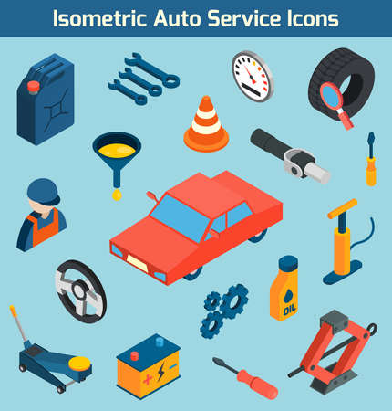 Auto service tools consumables and spare parts isometric icons set isolated vector illustration 向量圖像
