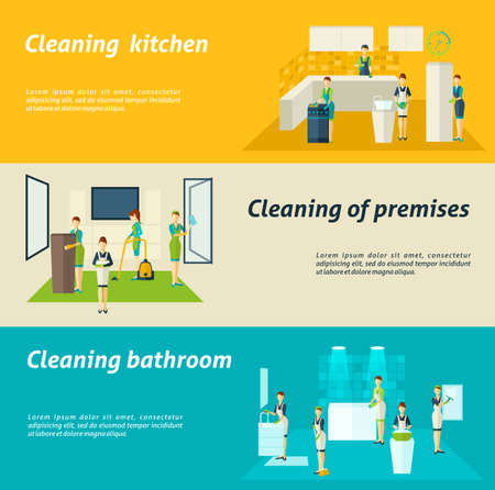 Premises kitchen and bathroom cleaning washing and wiping color flat horizontal banners set isolated vector illustration Иллюстрация