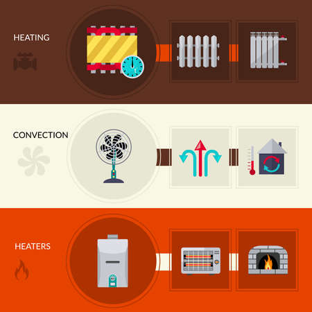 Heating and convection horizontal flat banners set isolated vector illustration Vector Illustration