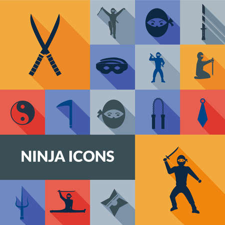 Ninja icons black long shadow set with traditional east weapon isolated vector illustration