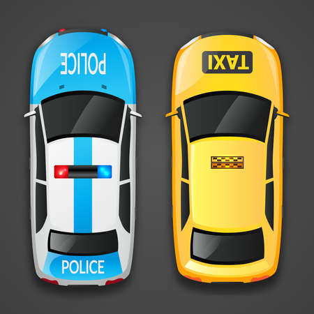Police auto and taxi car decorative icons set isolated on dark background vector illustration