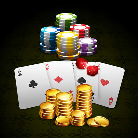 Casino and gambling with cards gold coins chips and dice background realistic vector illustration