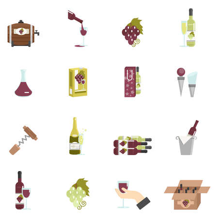 Wine icon flat set with barrel corkscrew grape isolated vector illustration