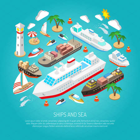 Sea and ships with ferries cargos boats yachts and beaches isometric concept vector illustration 矢量图片