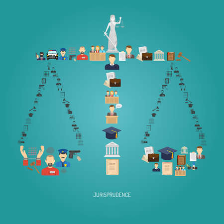 Justice concept with law icons in scales shape flat vector illustration