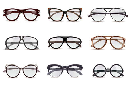 Realistic modern fashion eyeglasses assortment decorative icons set isolated vector illustration
