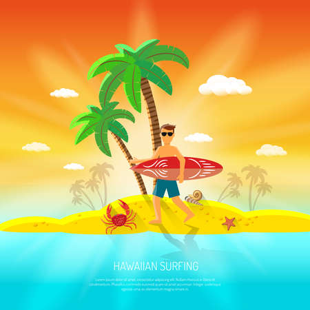 Surfing beach concept with surfer with board and palm on background flat vector illustration