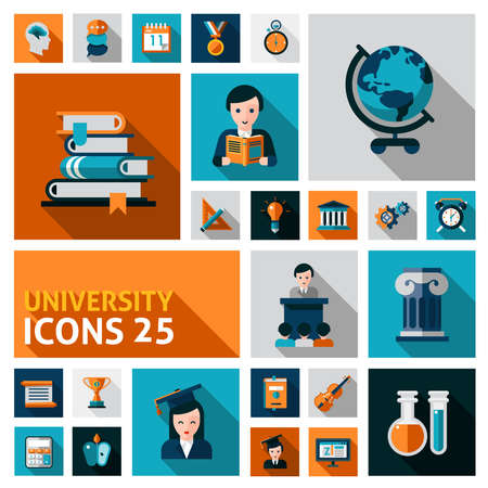 University and studying flat decorative icons set isolated vector illustration