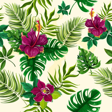 Exotic tropical rainforest plants opulent green leaves with hibiscus flowers wrap paper seamless pattern abstract vector illustration Vektorgrafik