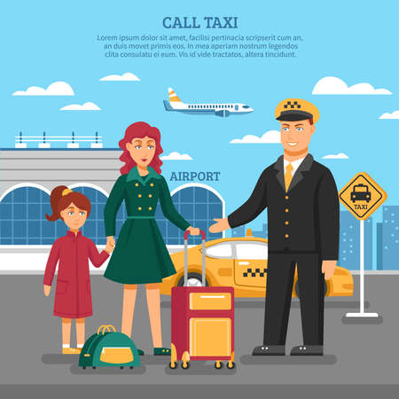 Taxi service poster with description of taxi to airport and a taxi driver added services for transfer of luggage vector illustration Vektorgrafik