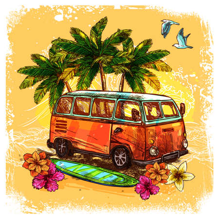 Surf or hippy style vintage old bus with surfboard flowers and palm sketch color concept vector illustration