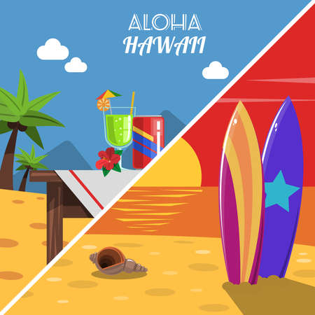 Beach diagonal banner set with surfing boards isolated vector illustration