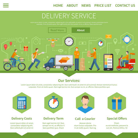 Delivery service and courier page with description of services including costs term special offers and call a courier flat vector illustration Vektorgrafik