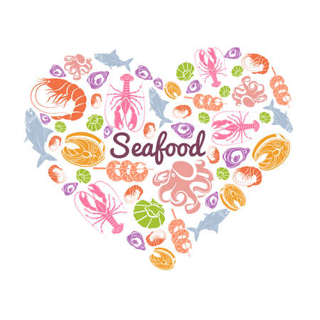 Love seafood concept with fish and sea animals in heart shape vector illustration 向量圖像