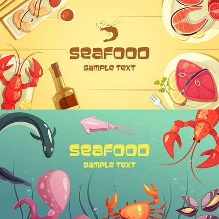 Horizontal color banners with title depicting seafood lobster crab octopus sushi salmon tuna vector illustration