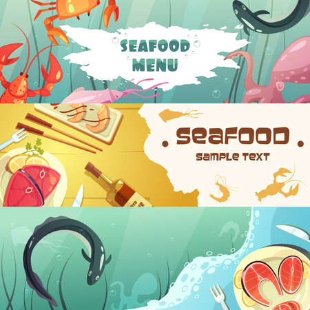 Color horizontal banners seafood menu with title depicting sea inhabitants and seafood meal vector illustration 向量圖像