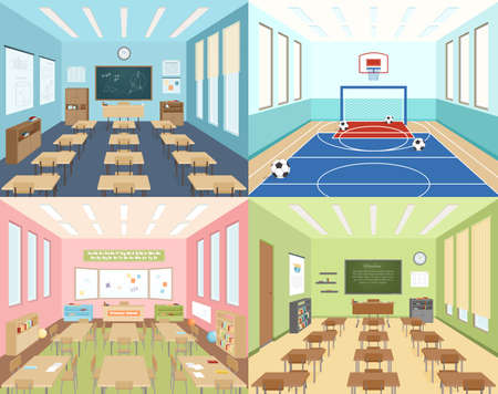 Isometric school 2x2 compositions presenting different classrooms for maths art and literature and sportroom vector illustration