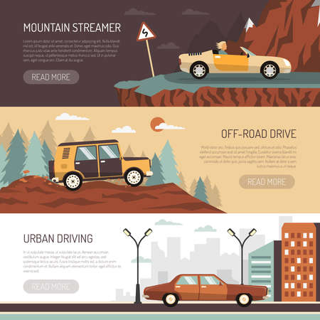 Set of horizontal banners with passenger cars for off-road urban and mountain driving flat vector illustration