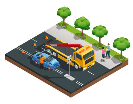 Road accident isometric composition with damaged car evacuator drivers and policeman vector illustration Illustration