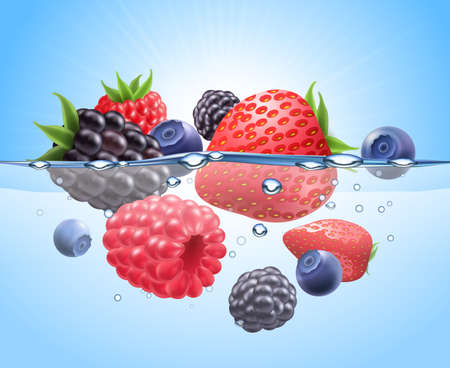 Berries in water realistic composition with strawberry blueberry and raspberry vector illustration