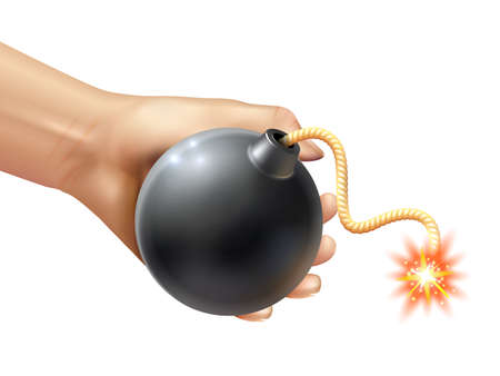Hand holding a black round bomb with burning fuse realistic vector illustration