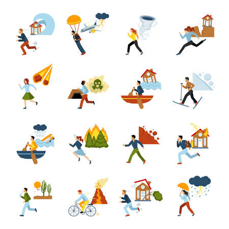 Human escape from different types of natural disasters flat color images set isolated vector illustration 向量圖像