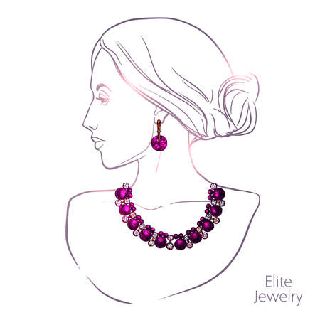 Young pretty woman head silhouette necklace and earrings jewelry vector illustration